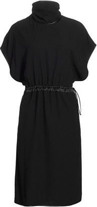Gucci Matte Sable Envers Satin Silk Cap-Sleeve Midi Dress
