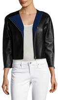 Maje Leather Asymmetrical Zip Motorcycle Jacket