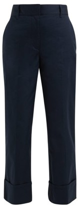 Prada Turn Up Cuff Cotton Trousers - Womens - Navy