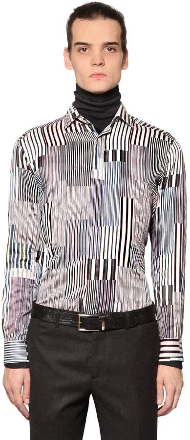 Etro Random Striped Cotton Shirting Shirt