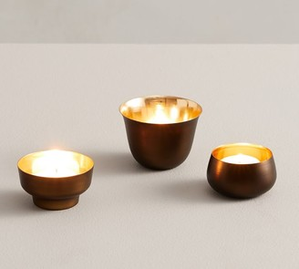 Pottery Barn Helen Tea Light Candle Holders, Brass - Set of 3