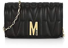 Moschino Women's Embossed Leather Wallet-On-Chain