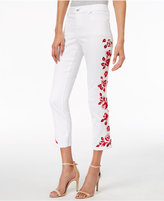 INC International Concepts Embroidered White Wash Cropped Jeans, Only at Macy's
