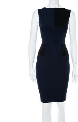Victoria Beckham Navy Blue Paneled Jersey Fitted Dress S