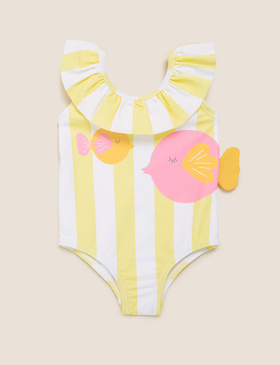 Marks and Spencer Stripe Frill Fish Swimsuit (0-3 Yrs)