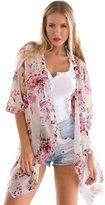 LookbookStore Lookbook Store Women's Beach White Floral Crop Sleeves Loose Fit Chiffon Kimono