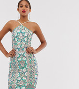 Asos Tall DESIGN Tall embellished mini dress in neon tile with halter neck