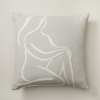 """Oui Line Drawn Pillow Cover Front 18"""" X 18"""""""