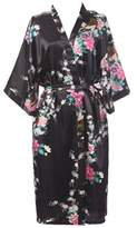 EFLM Women's Robes Peacock and Blossoms Silk Nightwear Long Style (XXXL, )