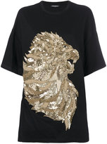 Balmain lion embossed T-shirt - women - Acrylic/metal/glass - 38