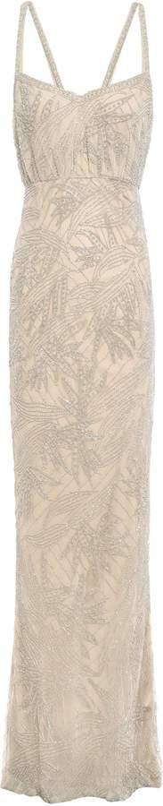 Rachel Gilbert ビーズ付き チュール ロングドレス