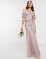 Maya Bridesmaid all over floral embellished bardot maxi dress in pink