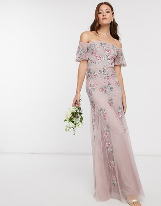 Maya Bridesmaid all over floral embellished bardot maxi dress in pink