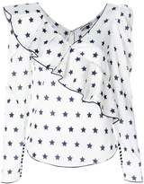Self-Portrait ruffled star print blouse