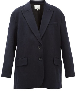 Tibi Liam Oversized Single-breasted Wool-blend Blazer - Womens - Navy