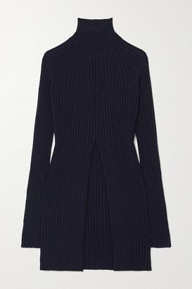 Jil Sander Ribbed Wool And Cashmere-blend Turtleneck Sweater - Navy
