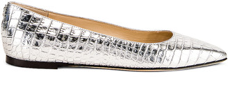Jimmy Choo Mirele Metallic Croc Embossed Leather Flat in Silver | FWRD