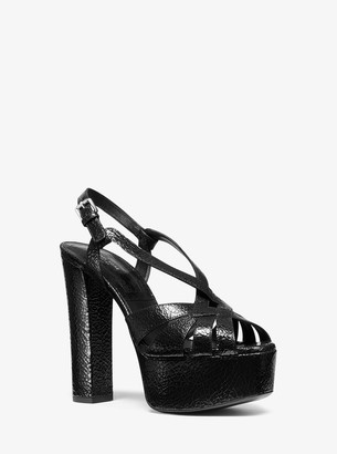 Michael Kors Candace Crackled Metallic Leather Platform Sandal