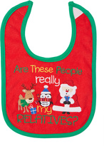Baby Essentials Red 'Are These People Really My Relatives' Bib