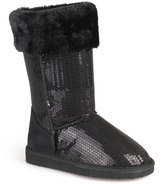 Journee Collection Spark Girls' Sequined Faux-Fur Trim Boots