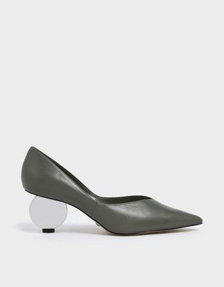 Charles & Keith V-Cut Sculptural Heel Leather Pumps
