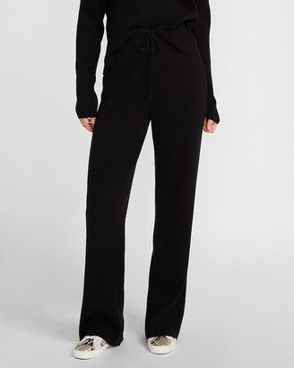 Express High Waisted Cozy Ribbed Wide Leg Pant