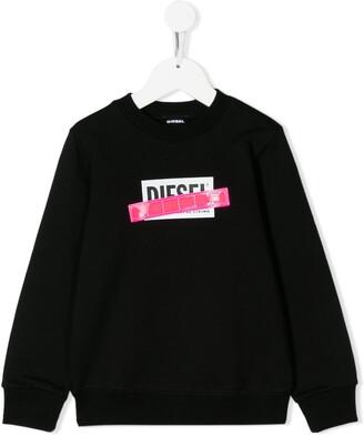 Diesel Logo Stripe Print Sweatshirt