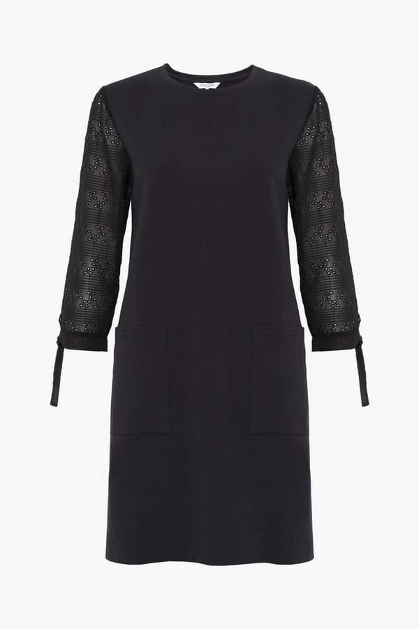 Great Plains Womens Black Monmarte Jersey 3/4 Sleeve Dress - Black