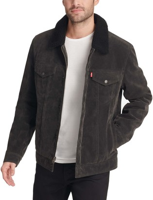 Levi's Men's Faux Suede Classic Trucker Jacket with Sherpa Lining and Collar