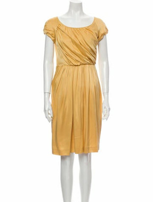 Alberta Ferretti Silk Knee-Length Dress Yellow