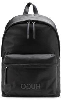 HUGO Reverse-logo backpack in structured nylon with top handle
