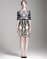 Peter Pilotto Printed Belted Half-Sleeve Dress