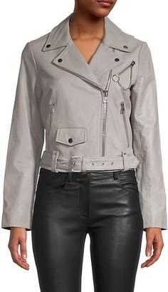 Maje Notched Leather Jacket