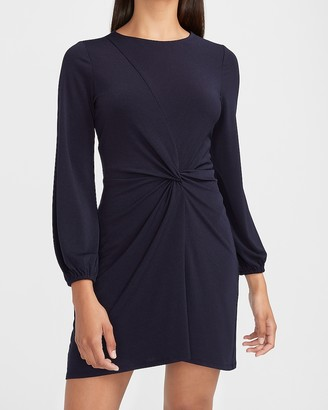Express Twist Front Long Sleeve Sheath Dress