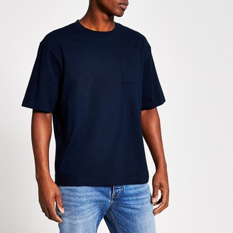 River Island Navy chest pocket boxy fit T-shirt