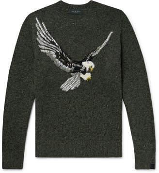 Rag & Bone Slim-Fit Embroidered Melange Wool-Blend Sweater