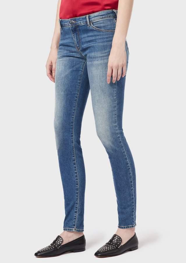 Emporio Armani J23 Super Skinny Jeans In Vintage Comfort Denim