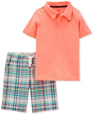 Carter's Little & Big Boys 2-Pc. Neon Polo Shirt & Plaid Shorts Set