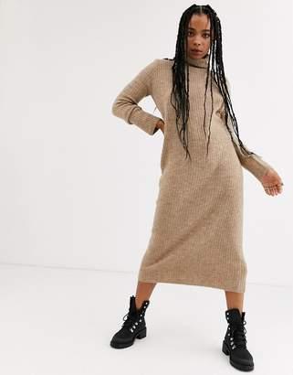 Bershka roll neck jumper dress in camel-Beige
