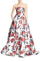 Mac Duggal Women's Floral Print Strapless Gown