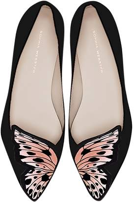 Sophia Webster Butterfly Embroidery Black & Nude Leather and Silk Flats