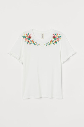H&M Embroidery-embellished Top - White