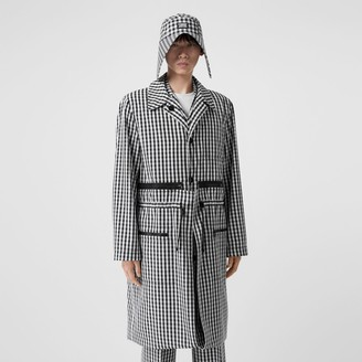 Burberry Gingham Technical Wool Loop-back Car Coat