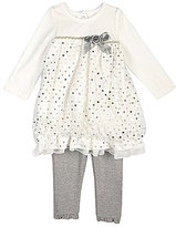 Nannette Newborn Bow-Accented Dress & Leggings Set