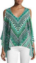 Ramy Brook Lily Long-Sleeve V-Neck Printed Top, Multi