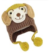 YOYOMA Baby Winter Warm Plus Velvet Thicken Puppy Model Long Ear Doggy Beanie Hats Wool Knit Tab Caps