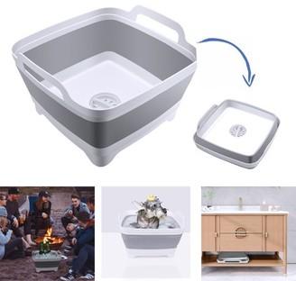 Odoland 10L Dish Rack, ODOLAND Collapsible Wash Basin Folding Wash Tub Portable Dishpan Draining Basket Dish Rack Vegetable Sink Colander w/ Sink Strainer for Outdoor Camping Travel, 12x12.4x7.8 IN