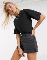 Monki Elina short sleeve cropped boxy t-shirt in black