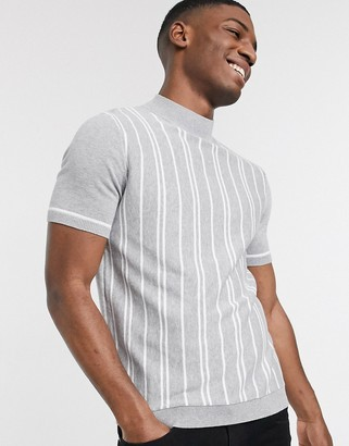 Topman knitted turtle neck t-shirt in grey & white stripe
