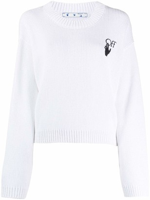 Off-White Embroidered Knitted Jumper
